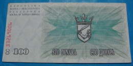 BOSNIA & HERZEGOVINA 100 DINARA 1992 VF - XF. - Bosnie-Herzegovine