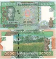 Attractive GUINEA  10'000  Francs Guinees   (2007)    P42a  UNC - Guinea