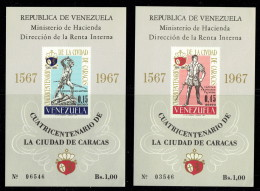 1967  Blocs Feuillets 400è Ann De La Ville De Caracas  Michel Blocs 14 Et 15   Sans Gomme, Tels Qu'émis - Venezuela