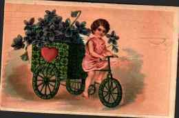 Fantaisie Divers 7, Gaufré Embossed - Ange Sur Tricycle De Trèfles, Violettes Coeur - Phantasie