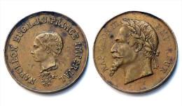 Jeton Napoléon Eugene L.J.J. Prince Imperial. Napoléon III°. Bronze - Monarquía / Nobleza