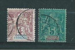 Colonies Timbres Du Congo De 1892  N°14 Et 15  Oblitérés - Oblitérés