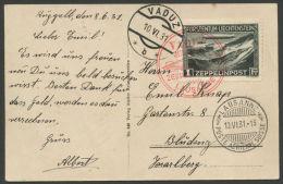 LIECHTENSTEIN, ZEPPELIN SET ON CARD AND COVER VFU USED - Poste Aérienne