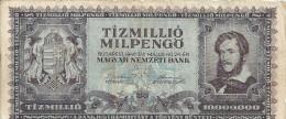 HONGRIE 10 MILLION MILPENGO 1946 VF P 129 - Hongrie
