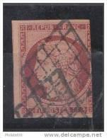 FRANCE  CERES No 6 OBLITERE  UN FILET COURT  PAS D'AMINCIS  COTE:1000 EUROS  BELLE NUANCE - 1849-1850 Ceres