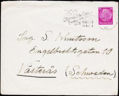 1936. 40 Pf. Hindenburg FRANKFURT 20.7.36. Olympische Spiele To Schweden.  (Michel: 524) - JF190291 - Briefe U. Dokumente