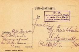 """""""2. B. Fussartl. Rgt / 2. Mob Ers Batl / 3. Ers Battr Hecht"""" Sur Feldpostkarte Illustrée Par G HECHT - 1. Weltkrieg 1914-1918"""
