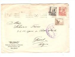 Spain Cover Bilbao Correos Censura Militar Vizcaya To Gand Belgium PR2559 - 1931-Today: 2nd Rep - ... Juan Carlos I