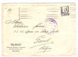 Spain Cover From Bilbao Correos Censura Militar Vizcaya To Gand Belgium PR2560 - 1931-Aujourd'hui: II. République - ....Juan Carlos I