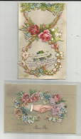Carte Fantaisies - Lot De 2 Belles Cartes Avec Ajoutis Pour L'une , Celluloide Pour L'autre- - Autres
