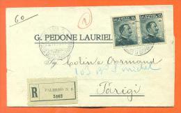 """G Pedone Lauriel - Pli Recommandé De Palermo à Paris """" Envoyée à Armand Collin à Paris """" - 1900-44 Vittorio Emanuele III"""