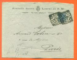 """Fratelli Bocca  Librai Di S M  - Enveloppe De Turin à Paris """" Envoyée à Armand Collin à Paris """" - 1900-44 Vittorio Emanuele III"""