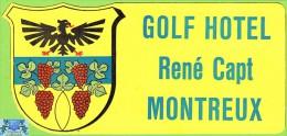 Voyo HOTEL GOLF Rene Capt. Montreux Switzerland Hotel Label 1970s Vintage - Etiquettes D'hotels