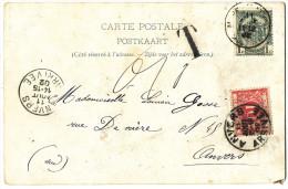 """1902 ZICHTKAART """"MONS-HOTEL DE VILLE"""" MET PZ53 VAN MONS(STATION) NAAR ANVERS(ARRIVEE) GETAXEERD MET TTX5 + T ZIE SCAN(S) - Taxes"""