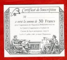 Exposition Philatélique PHILEXFRANCE 1989 Certificat De Souscription-verso Vignette Publicitaire Adhésive - Expositions Philatéliques