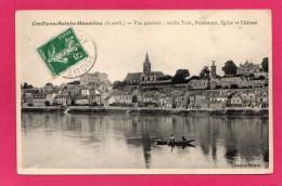 78 YVELINES CONFLANS-SAINTE-HONORINE, Vue Générale, Vieille Tour, Pensionnat,barque, La Seine, Animée, (LIbrairie Maitre - Conflans Saint Honorine