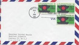 USA 1965 FDC Voyagé Pour La France Stop Traffic Accidents Prévention Routière Accident Feu Rouge Signalisation - Accidents & Road Safety