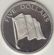 @Y@    Bahamas 1974 5 Dollars Silver Proof Coin, Flag  Zilver - Bahamas