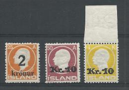 ISLANDE - RARE YVERT N° 110/112 ** (110 * Avec INFIME CHARNIERE) SIGNES SCHELLER - COTE = 1365 EUROS - 1873-1918 Dépendance Danoise