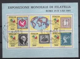 ITALIA  1985  EXPO MONDIALE DI FILATELIA   BF  Usato A.S. - 1946-.. République
