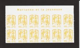 """847 - 4763  De  2013  - Neuf ** - Bloc De 12 Timbres Autoadhésif . """"MARIANNE ET LA JEUNESSE"""" .  0.01. Jaune - Autoadesivi"""