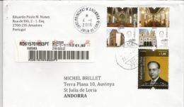 La Route Des Cathédrales (Angra Açores - Funchal Madère), Lettre Recommandée D'Amadora Adressée En Andorre - 1910-... Republik