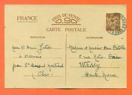 Carte Postale Correspondance Familiale - De Orcenais à Wassy - 2 Scans - 2. Weltkrieg 1939-1945