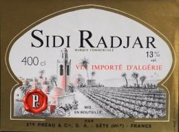 ETIQUETTE  De VIN ROUGE 13° Importé D'Algérie - Sidi Radjar 400cl - T. B-E  - - Rouges