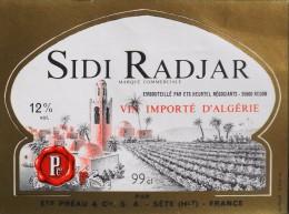 ETIQUETTE  De VIN ROUGE 12° Importé D'Algérie - Sidi Radjar 99cl - T. B-E  - - Rouges