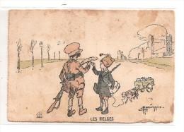 Illust : MARECHAUX - LES BELGES - Enfant, Jeux, Militaire, Voiture à Chien - Illustrators & Photographers