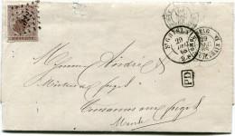 BELGIQUE LETTRE AFFRANCHIE AVEC LE N°19 OBLITERATION 322 DEPART ST GHISLAIN 29 DEC 68 POUR LA FRANCE - Postmarks - Points