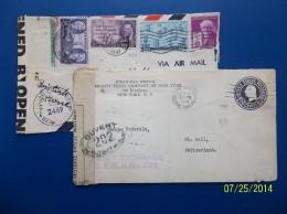 USA: 1947 Censored Air Cover & 1918 Censored Postal Envelope To Germany, Etc. (#W2) - Etats-Unis