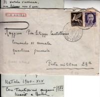 STORIA POSTALE-SU BUSTA-VIA AEREA-POSTA MILITARE 23a-29-12-1940-ROMA - - Posta