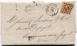 BELGIQUE LETTRE AFFRANCHIE AVEC LE N°33 OBLITERATION 322 DEPART ST GHISLAIN 21 DEC. 71 POUR LA FRANCE - Postmarks - Points