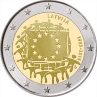 "LETONIA  /  LATVIJA     2€ Bimetálica  2.015  2015   ""30 Years Of The U.E. Flag""   SC/UNC   T-DL-11.477 - Letonia"