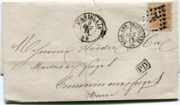 BELGIQUE LETTRE AFFRANCHIE AVEC LE N°33 OBLITERATION 322 DEPART ST GHISLAIN 6 OCT. 71 POUR LA FRANCE - Postmarks - Points