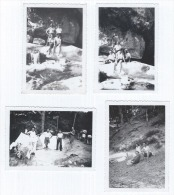 Photographie Ancienne, Lot 4 Photos, Années 30, Anonyme, Portrait D'amis Au Camping, Vacances, Rivière, Forêt, Mode, ... - Anonymous Persons