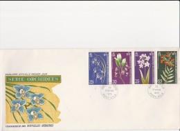NOUVELLES - HEBRIDES- SERIE ORCHIDEES N° 358 A 361 - SUR LETTRE FDC - ANNEE 1973