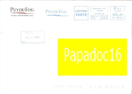 EMA - Flamme Machine à Affranchir Sur Enveloppe Entière à Entête - Puy Du Fou (Les Epesses 21-09-2015) - Marcophilie (Lettres)