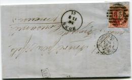 BELGIQUE LETTRE AFFRANCHIE AVEC LE N°8 OU LE N°12 OBLITERATION 83 DEPART MONS 13-8-61 POUR LA FRANCE - Postmark Collection