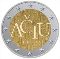 """LITHUANIA  /  LIETUVA    2€ Bimetálica  2.015  2015   """"ACIU""""   SC/UNC   T-DL-11.479 - Lithuania"""