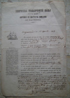 DOCUMENTO DI TRASPORTO IMPRESA TRASPORTI SALI VIA DI MARE ANTONIO DI BATTISTA EMILIANI RAVENNA ANNO 1869 - Transportation Tickets