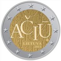 "LITHUANIA  /  LIETUVA    2€ Bimetálica  2.015  2015   ""ACIU""   SC/UNC   T-DL-11.479 - Litouwen"
