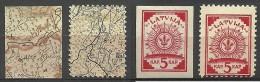 LETTLAND Latvia 1918 Michel 1 - 2 * Incl. Inverted/kopfstehender Karte - Lettonie