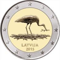 """LETONIA  /  LATVIJA     2€ Bimetálica  2.015  2015   """"La Cigüeña Negra - STORK""""   SC/UNC   T-DL-11.480 - Latvia"""