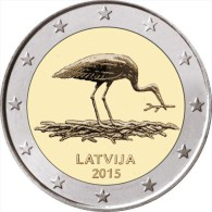 """LETONIA  /  LATVIJA     2€ Bimetálica  2.015  2015   """"La Cigüeña Negra - STORK""""   SC/UNC   T-DL-11.480 - Letonia"""