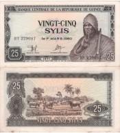 GUINEA  25 Sylis  1971   P17   AU-UNC - Guinea