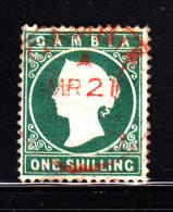 Gambia Used Scott #11 1sh Victoria, Green - Upper Left Corner Creased - Gambia (...-1964)