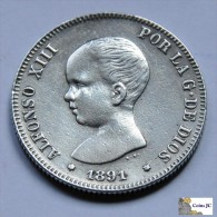 España - 2 Pesetas - 1891 - Reverso  Con Inscripcion De época - [ 1] …-1931 : Reino