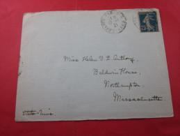 TIMBRE SEMEUSE 140 BLEU F Seul SUR LETTRE CAD MANUEL=>TARIF 1er ECHELON ETGR=>PARIS VI =>NORTHAMPTON MASS. USA - 1877-1920: Semi-Moderne